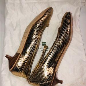 Kate Spade Kitten Heels Gold snakeskin w straps